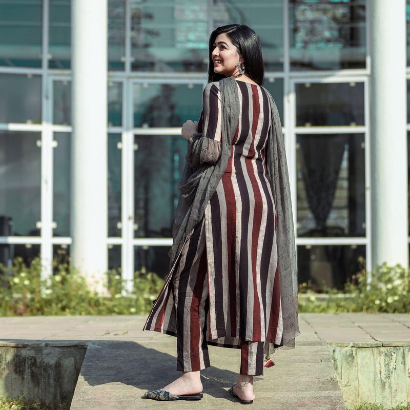 Brown Stripe Embroidered Suit Set With Pants - Ambraee
