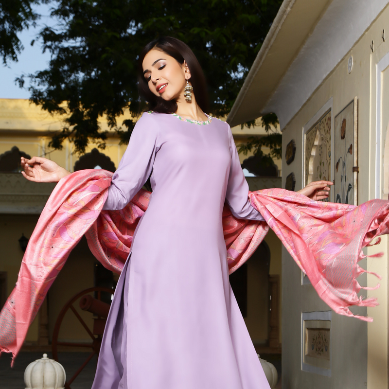 Lilac Neck Embroided Suit Set