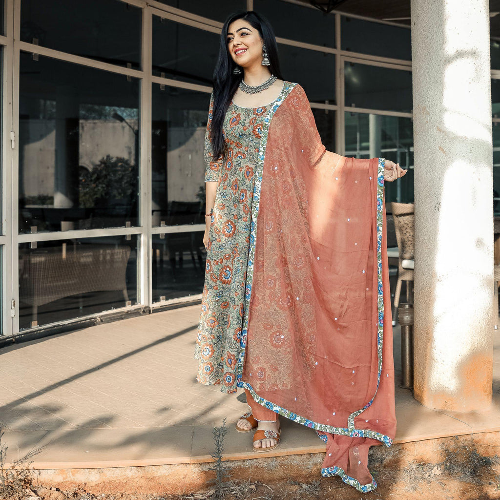 Brown Floral Suit Set With Chiffon Dupatta - Ambraee