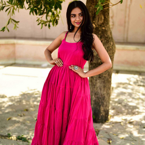 Pink Dress With Jacket Sleeveless Floor Length maxi dress  - Ambraee