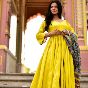 Olive Yellow Kanchali Kurta With Dupatta