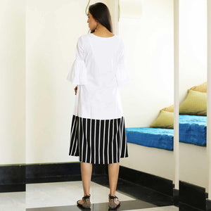 BLACK AND WHITE STRIPE DRESS - Ambraee