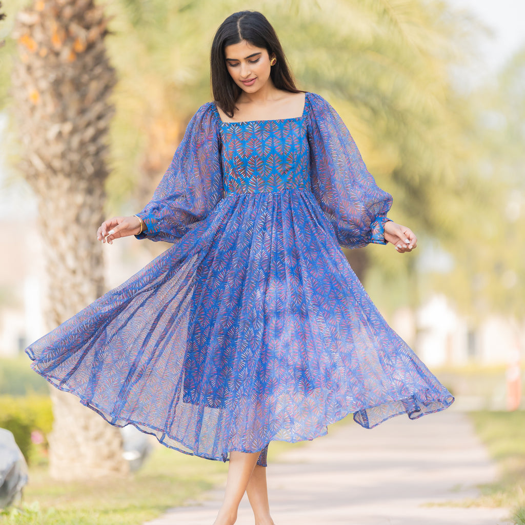 Blue Picnic Kota Doria Dress - Ambraee