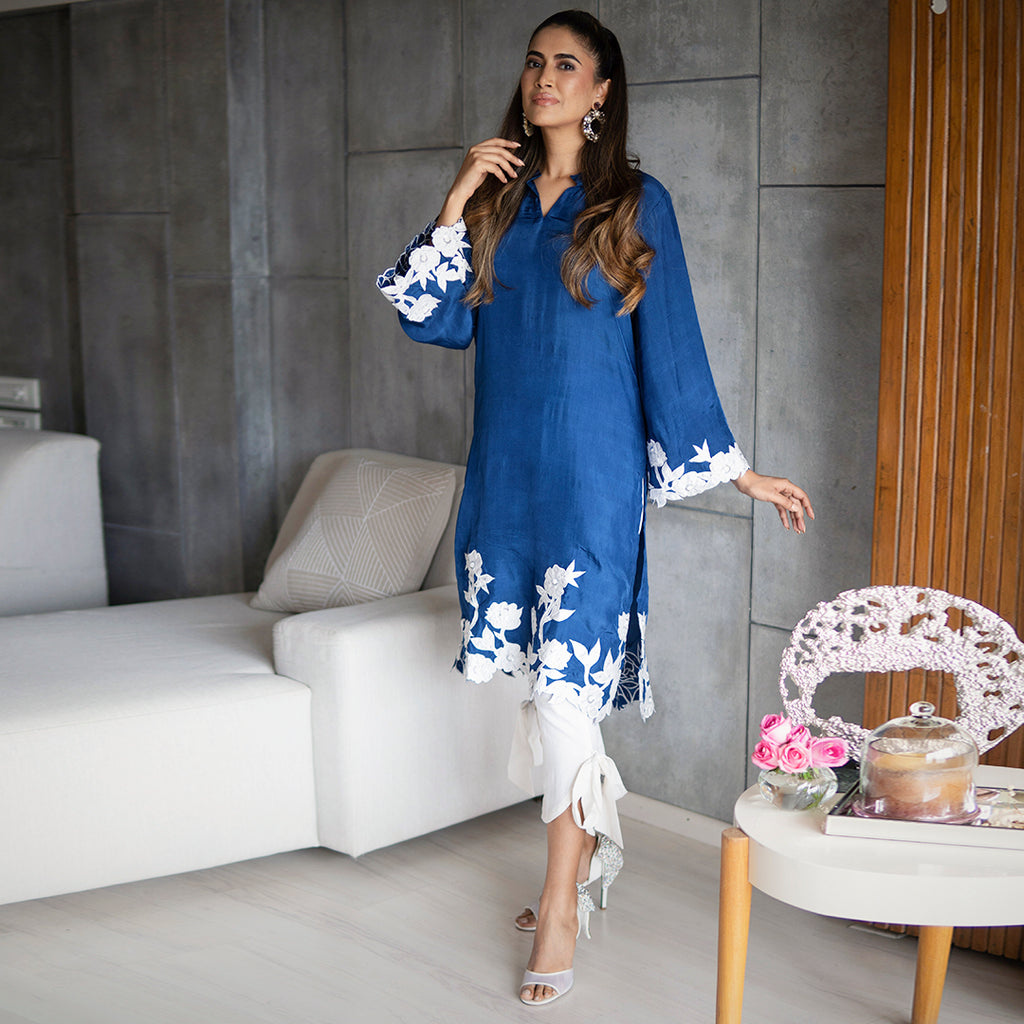 Classic Blue Silk Kurta Set By Ambraee