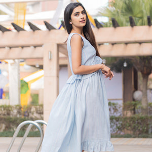 Blue Rainbow Lurex Dress - Ambraee