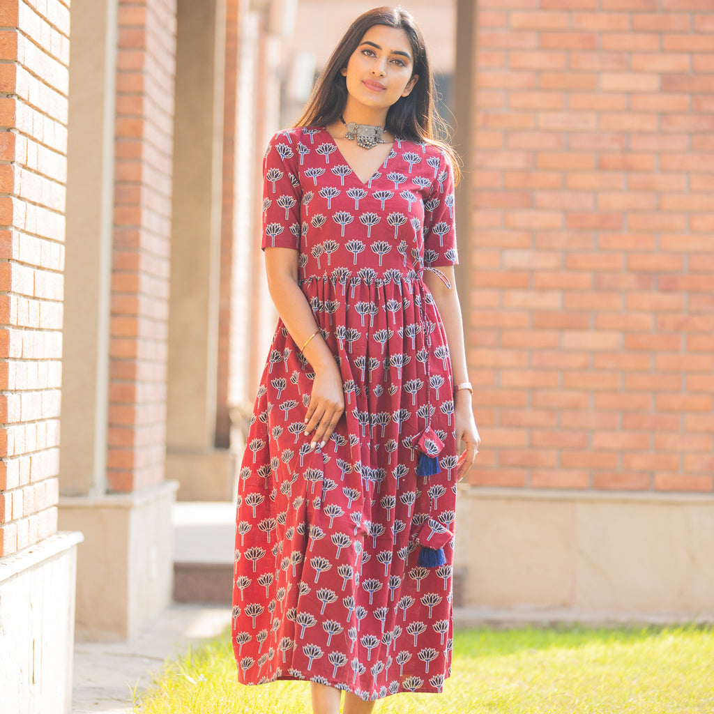 Red Lotus Dress - Ambraee
