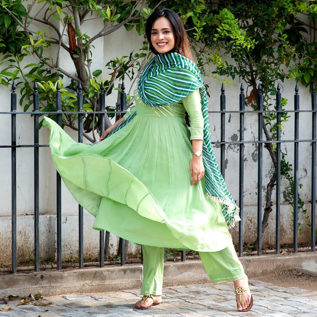 Green Gota Leheriya Suit
