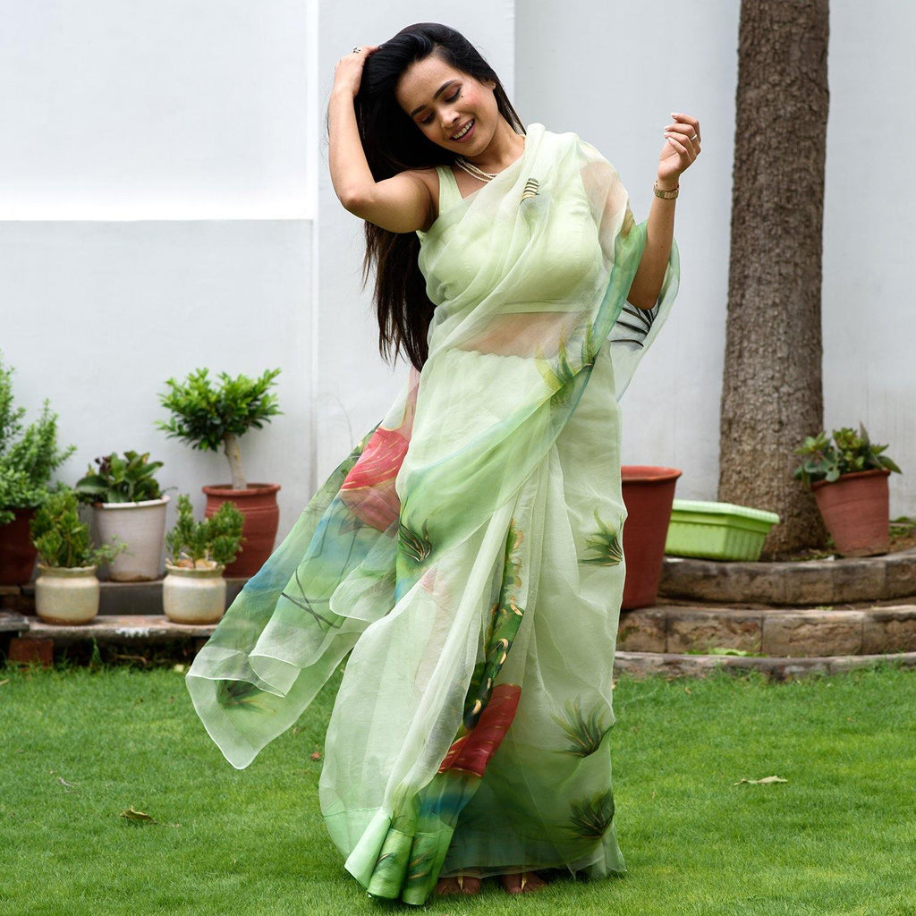 Mint Green Flamingo Hand Painted Saree - Ambraee