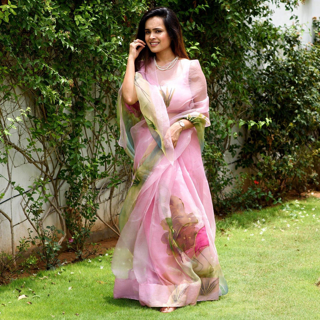 Pink Flamingo Hand Painted Saree
