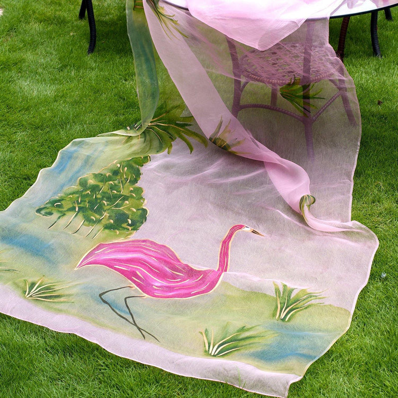Pink Flamingo Hand Painted Saree - Ambraee