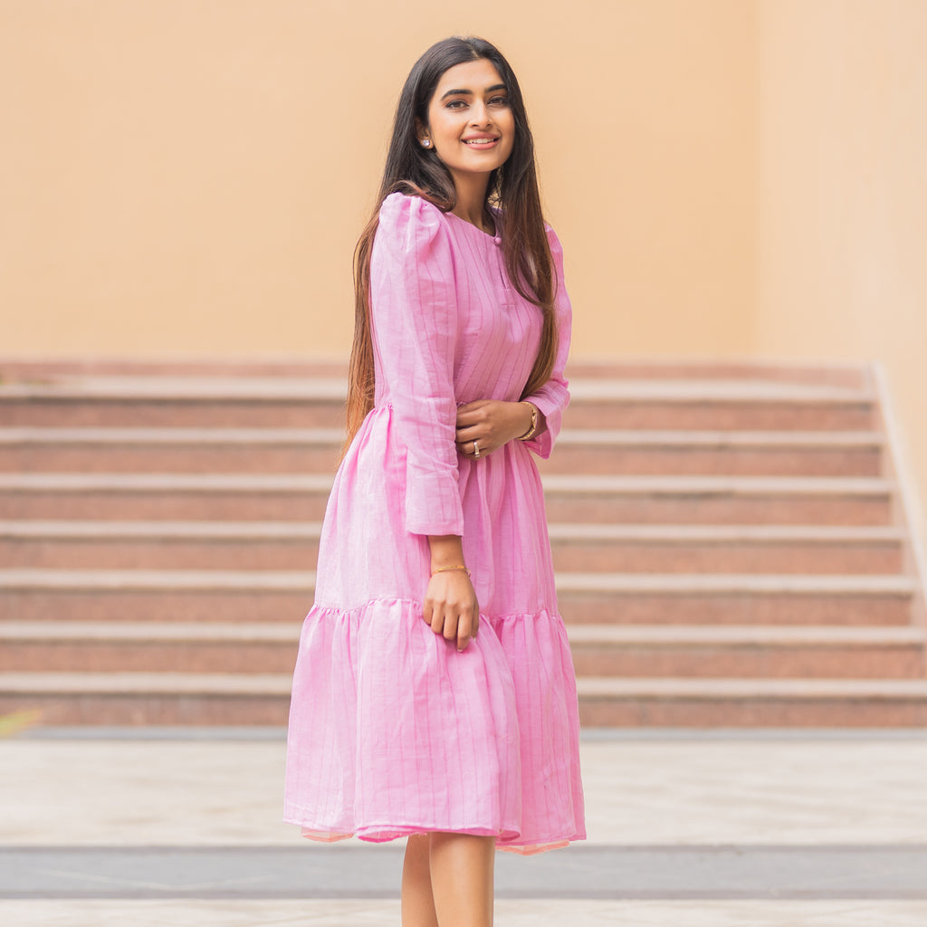 An Elegant Look Pink Pocket Dobby Dress Online For Girls- Ambraee
