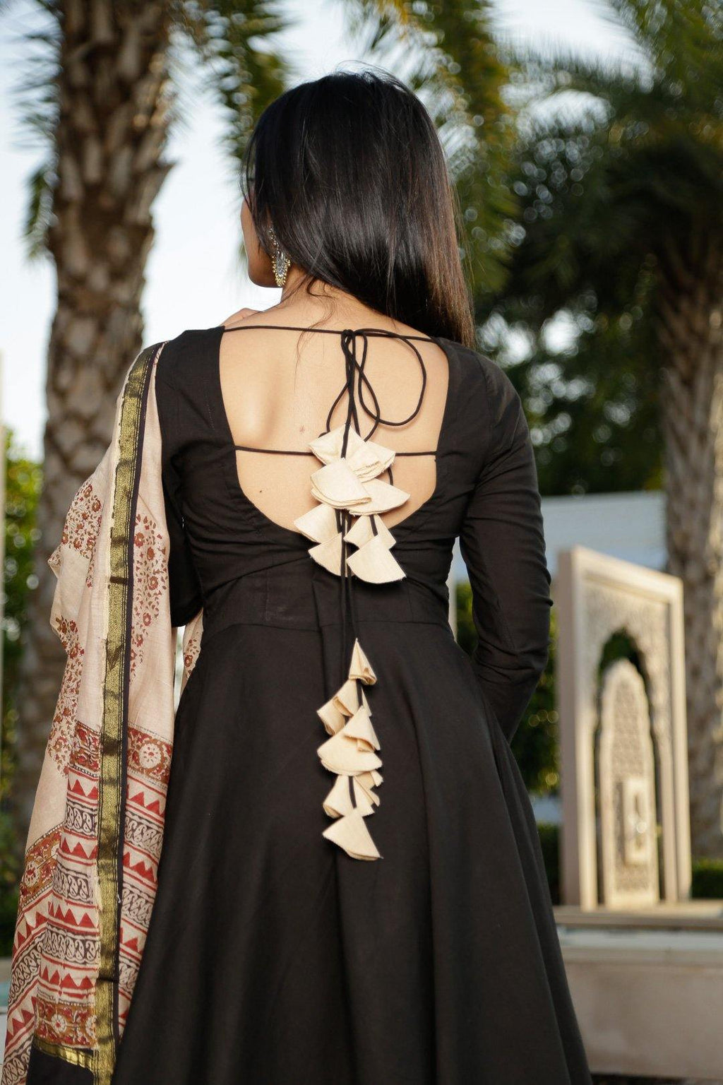 Black Backless Suit Set