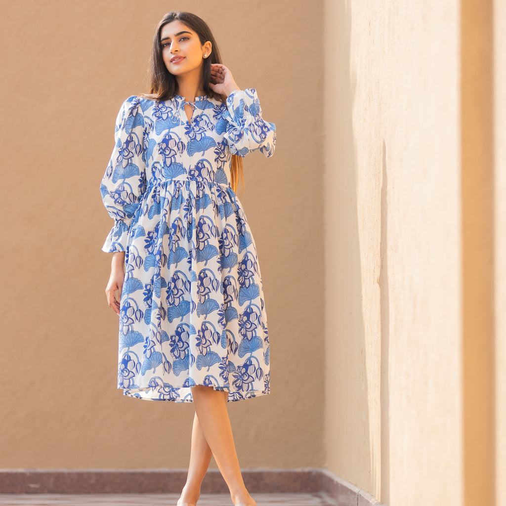 Indigo Lotus Tie-Up Dress - Ambraee