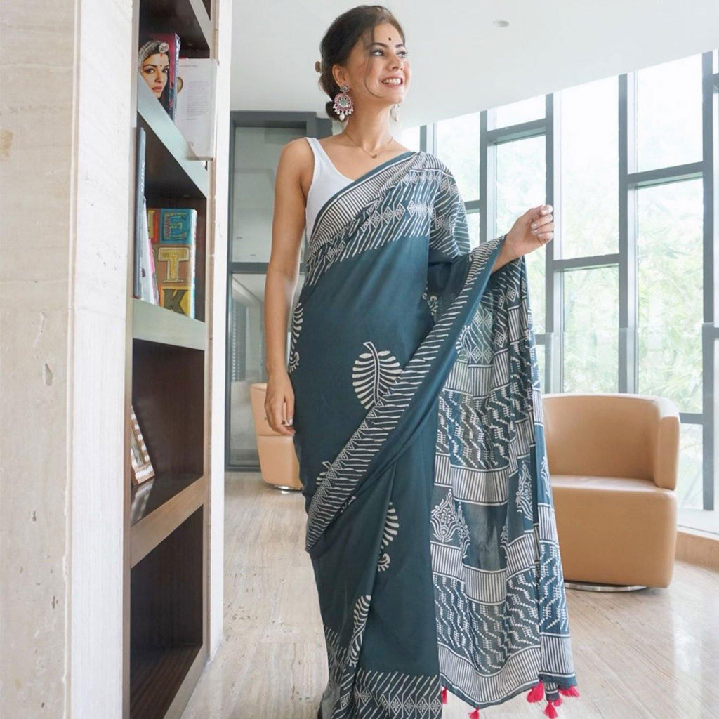 Grey Cotton Saree - Ambraee