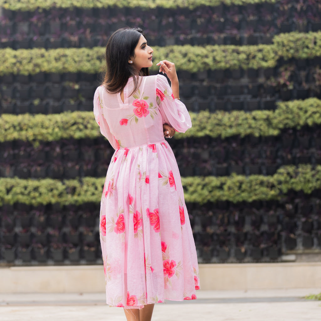 Mid-Calf Pink Peony Handpainted Doria Dress - Ambraee