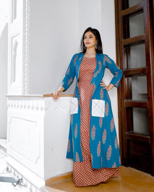 Printed Floor Length With Jacket