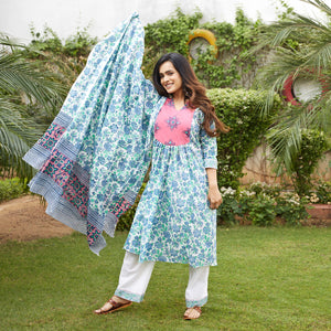 Green Floral Embroidered Yoke Suit