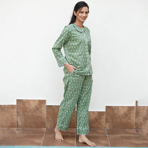 Green Bird Printed Night Suit