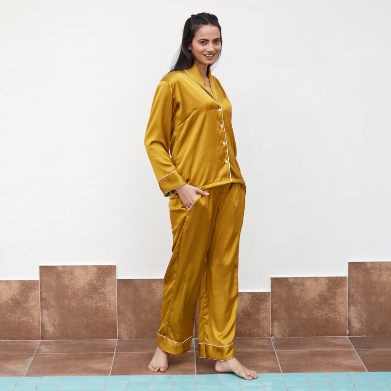 Mustard Satin Night Suit