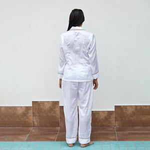 White Satin Notch Night Suit