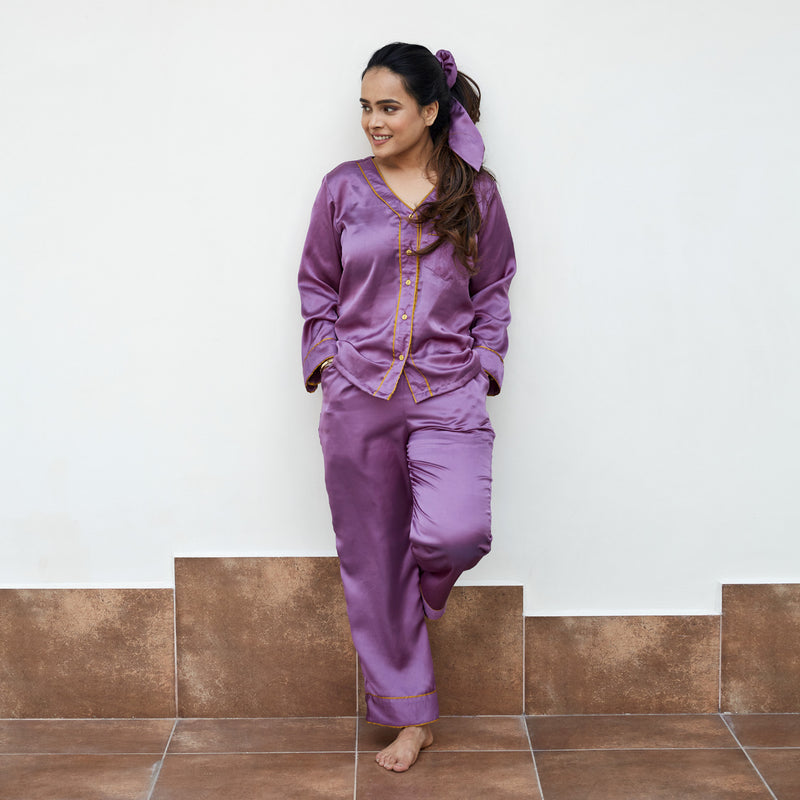 Mauve Satin Night Suit