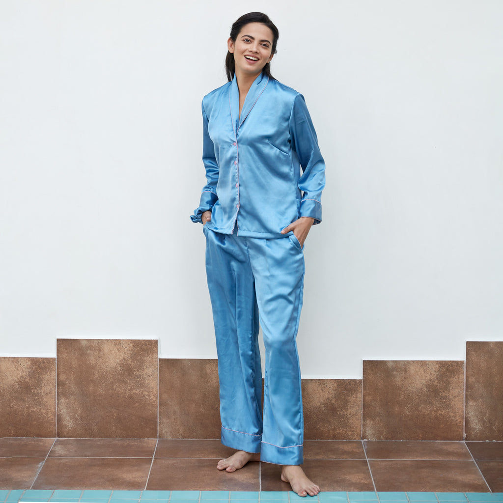 Sky Blue Satin Night Suit