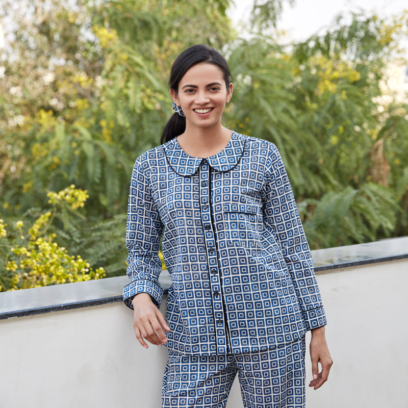 Blue Geometric Night Suit