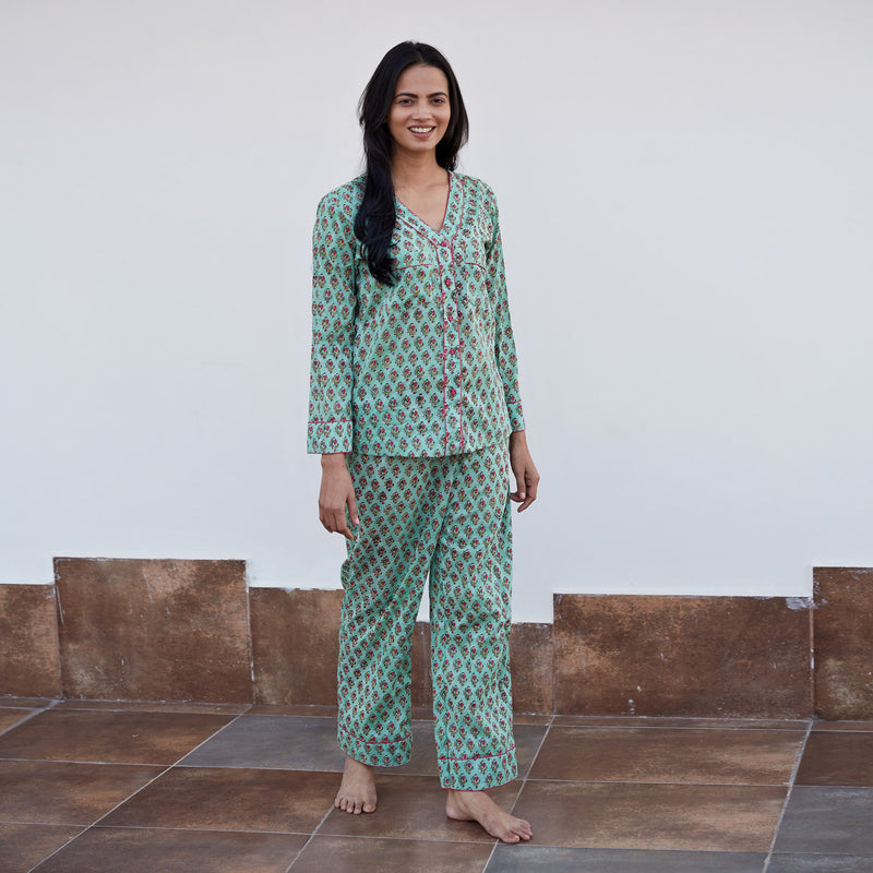 Green Block Printed Night Suit