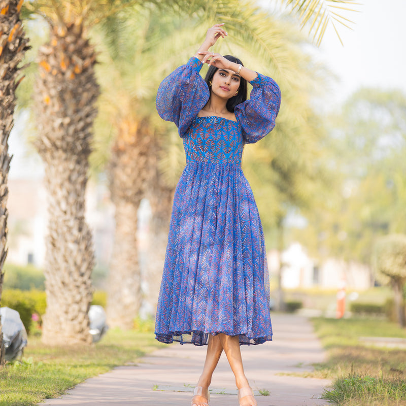 Blue Picnic Kota Doria Dress With Puff Sleeves & Cuffs - Ambraee