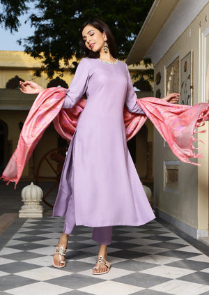 Lilac Neck Embroidered Suit Set