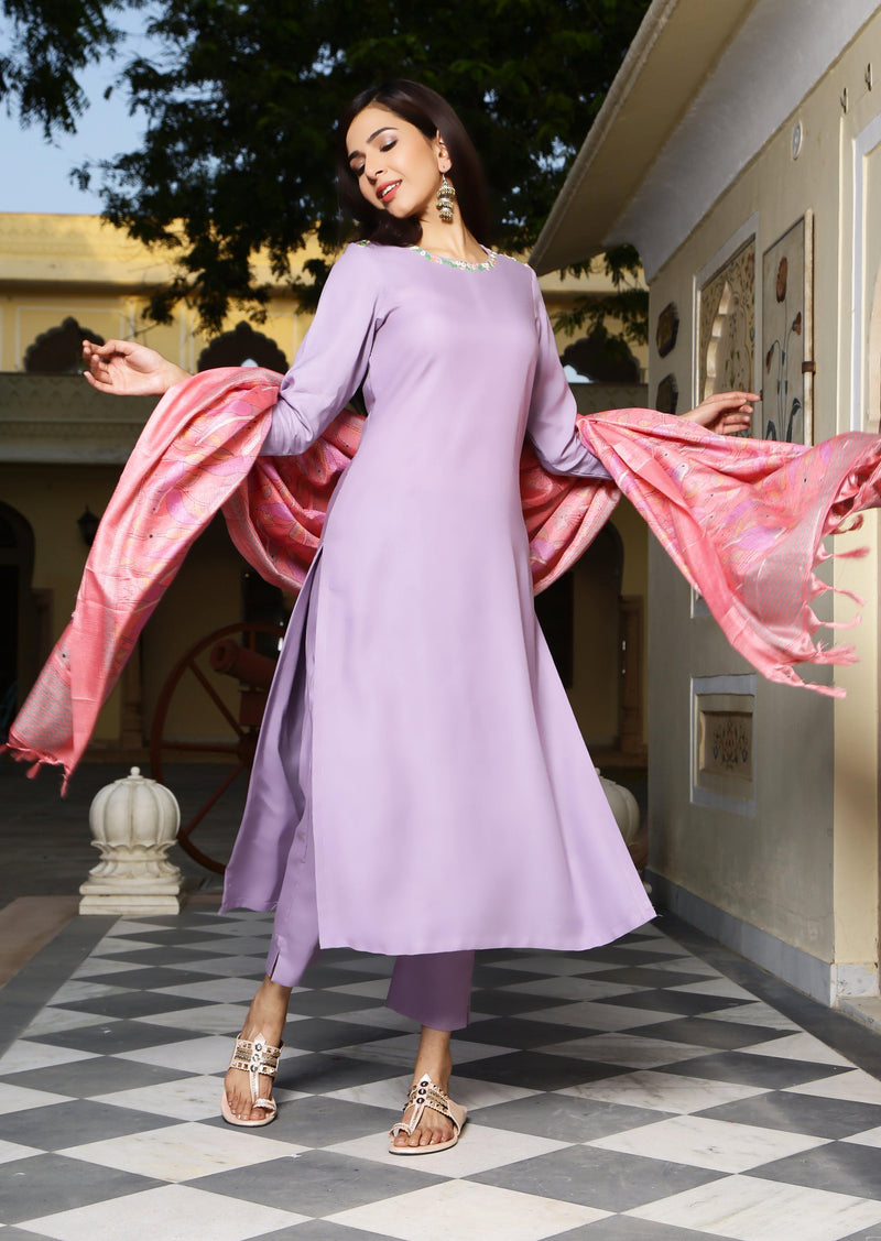 Lilac Neck Embroidered Suit Set - Ambraee