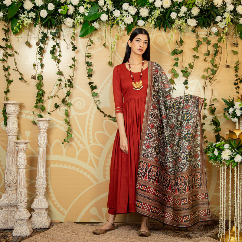 Maroon Kalamkari Suit Set with Dupatta