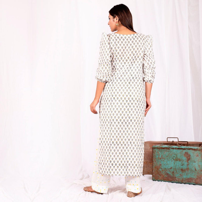 White Sheesha Kurta Set