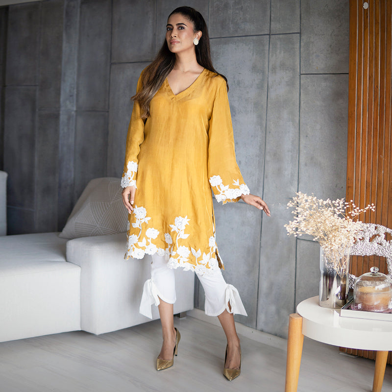 Mustard Silk Kurta Set