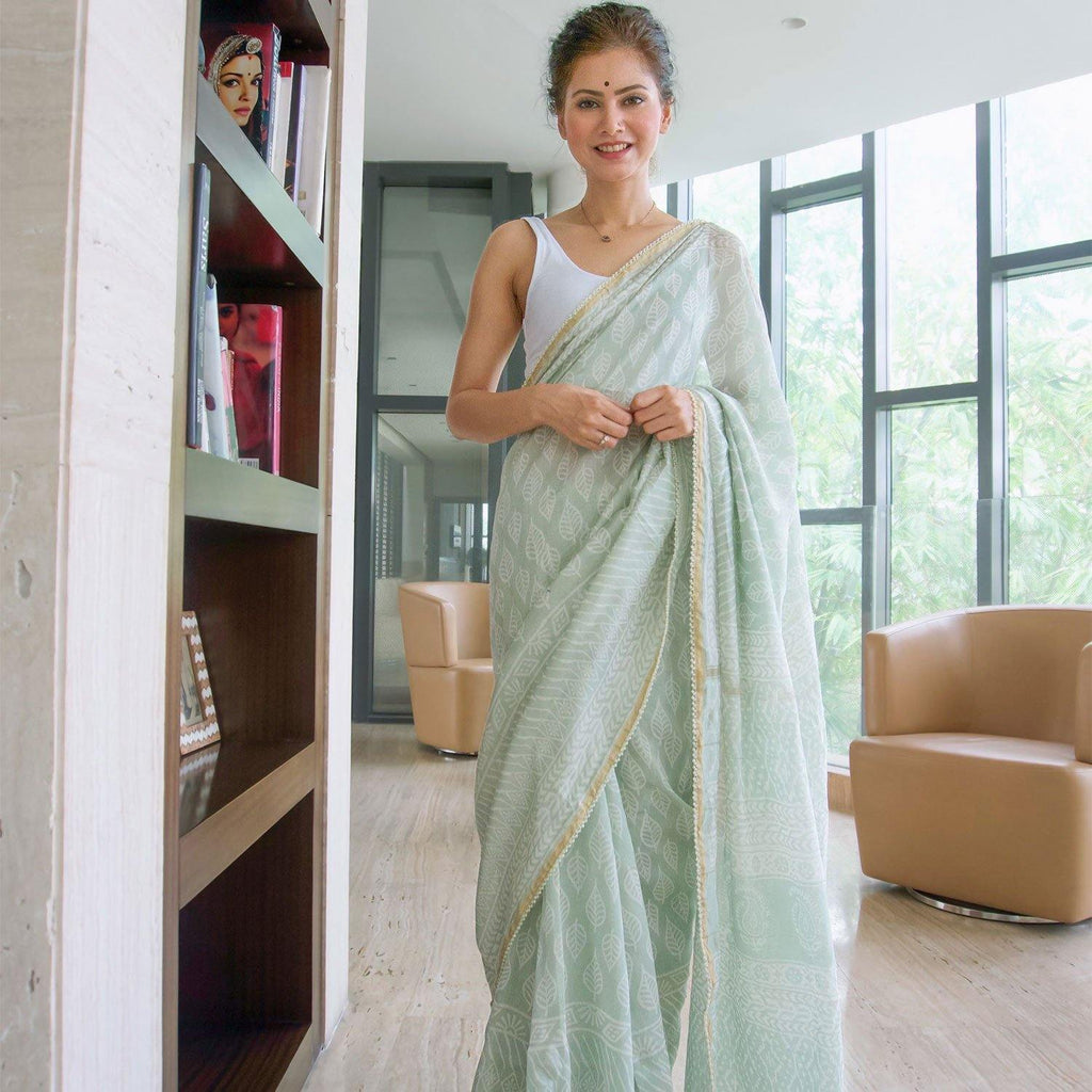 Mint Green Chanderi Saree - Ambraee