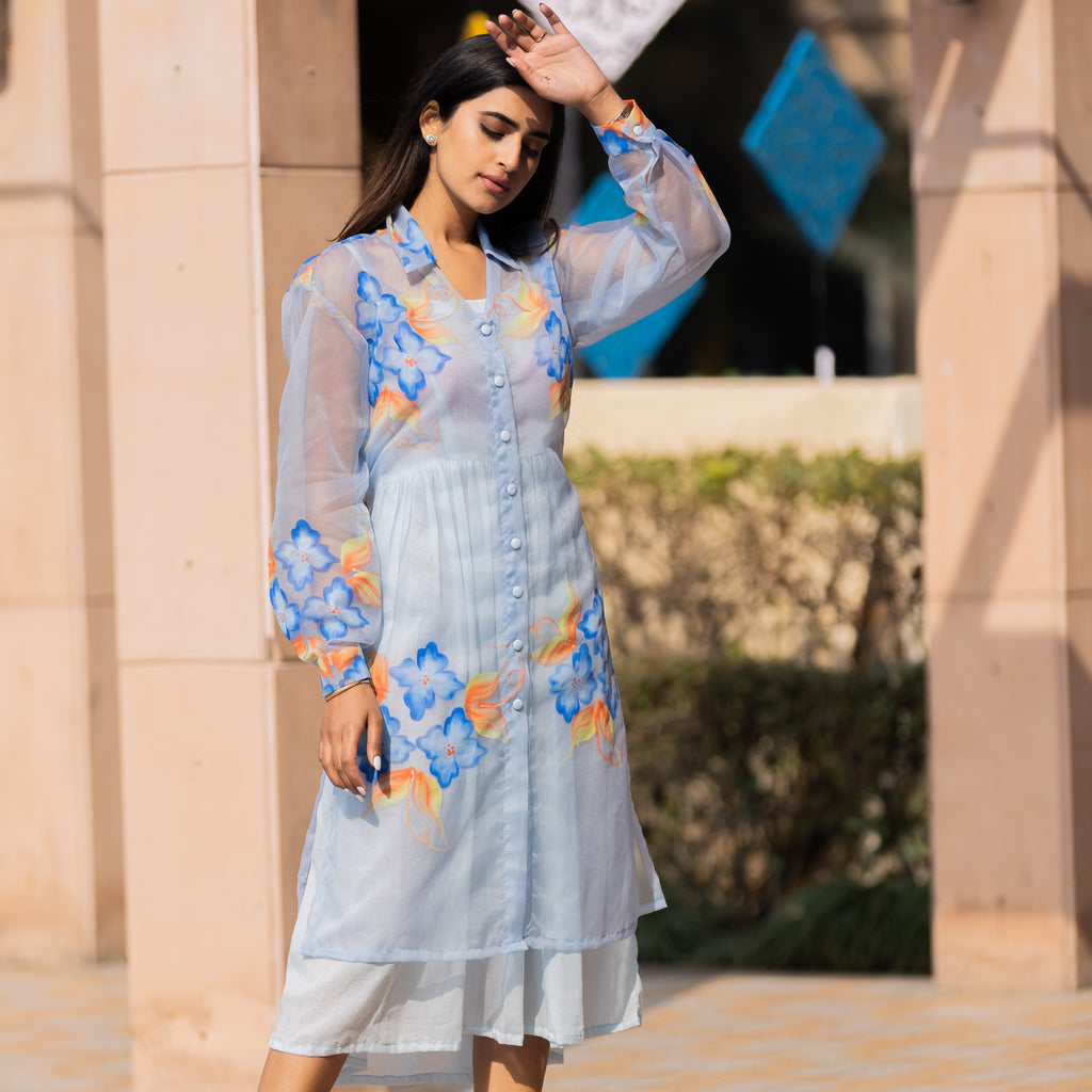 Blue Organza Hand-Painted Shirt Dress - Ambraee