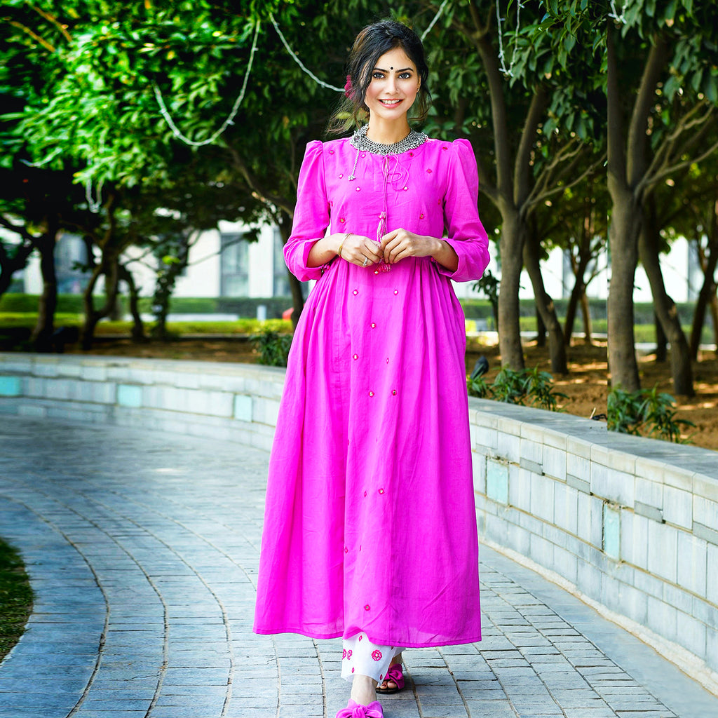 Pink Sheesha Kurta Set In Mulmul Fabric - Ambraee