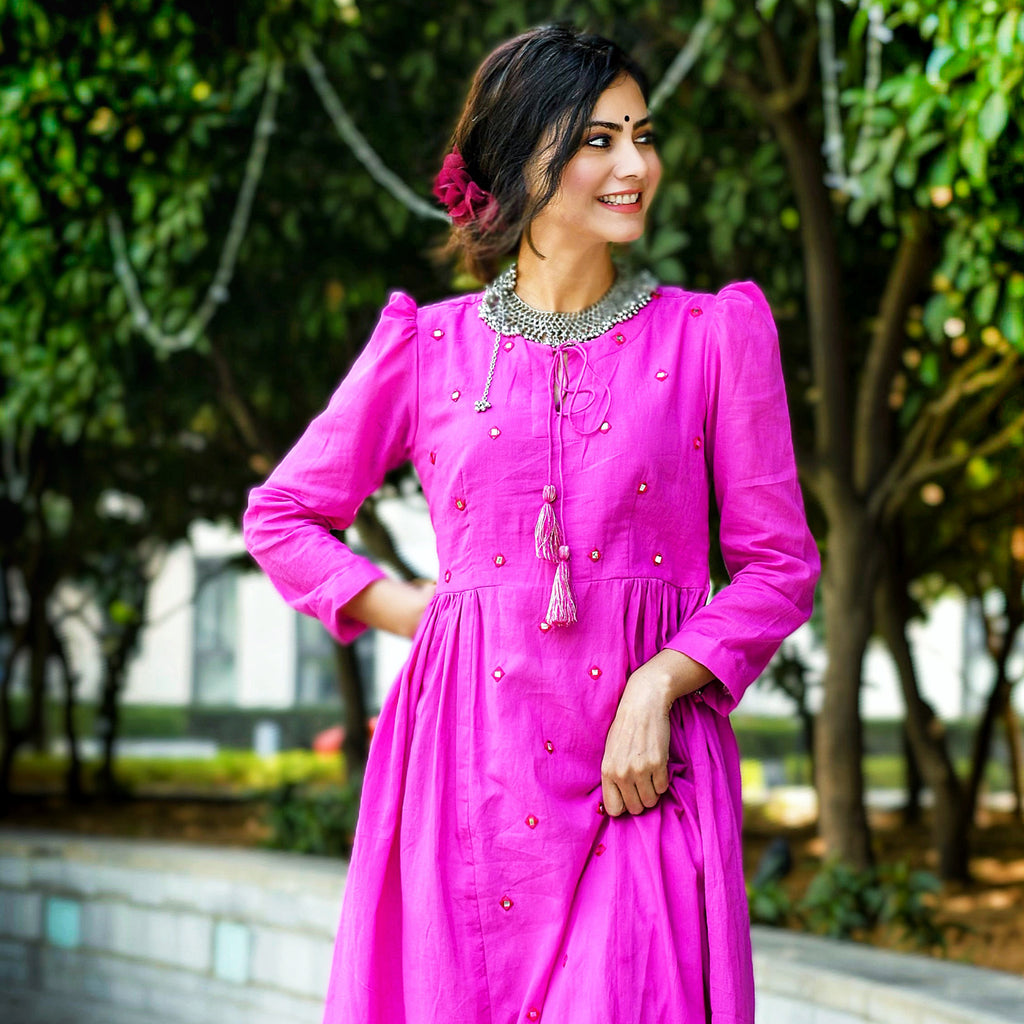 Mirror Embroidered Pink Sheesha Kurta Set For Women - Ambraee