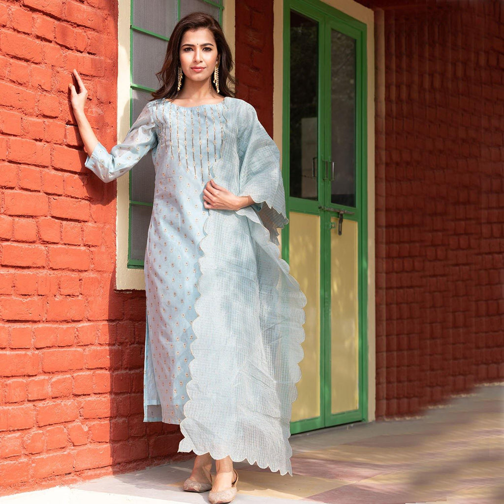 Blue Printed Chanderi Suit