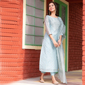 Contemporary Blue Printed Chanderi Suit Set Online - Ambraee