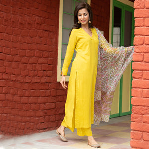 Trendy Olive Doria Dupatta Suit Set Online For Girls - Ambraee