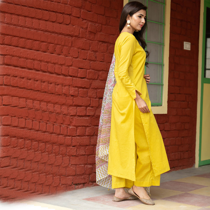 Three Piece Olive Doria Dupatta Suit Set Online - Ambraee
