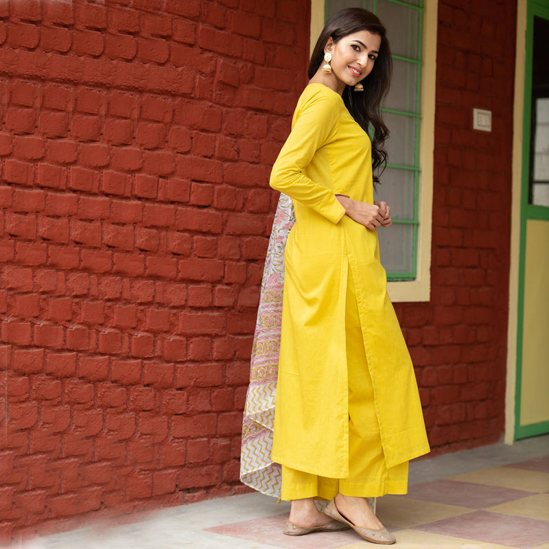 Olive Doria Dupatta Suit Set With Pants - Ambraee
