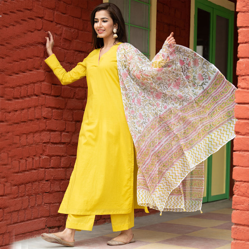 Olive Doria Dupatta Suit Set With Printed Dupatta - Ambraee