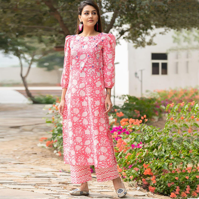 Pink Sheesha Kurta Set - Ambraee