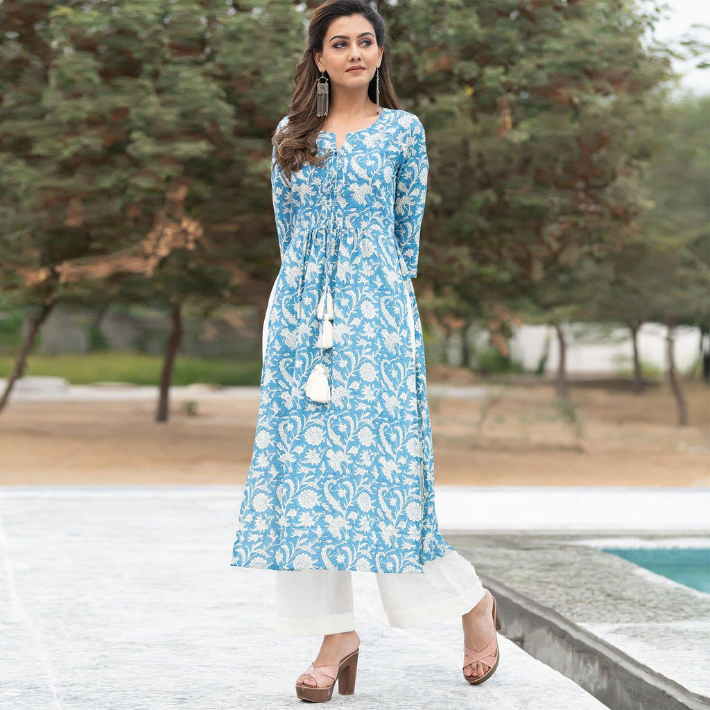 Blue Printed Kurta Set - Ambraee
