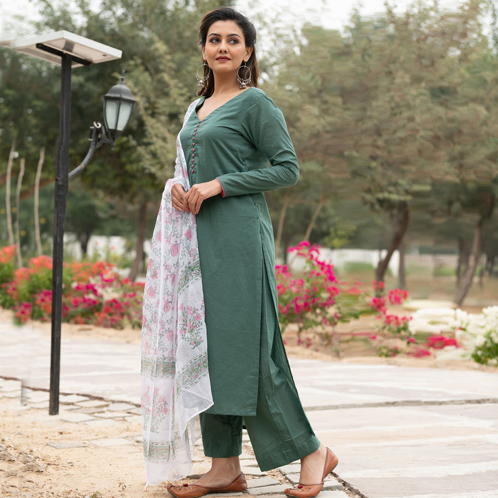 Green Doria Dupatta Suit Set