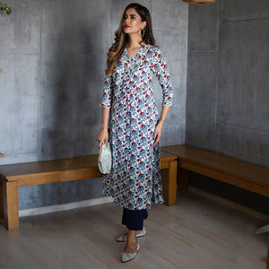 Red Muslin Raspberry Kurta Set