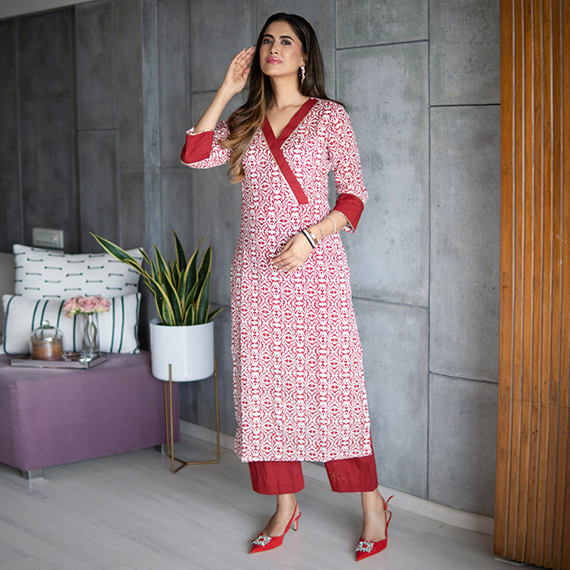 Red Muslin Scribble Kurta Set