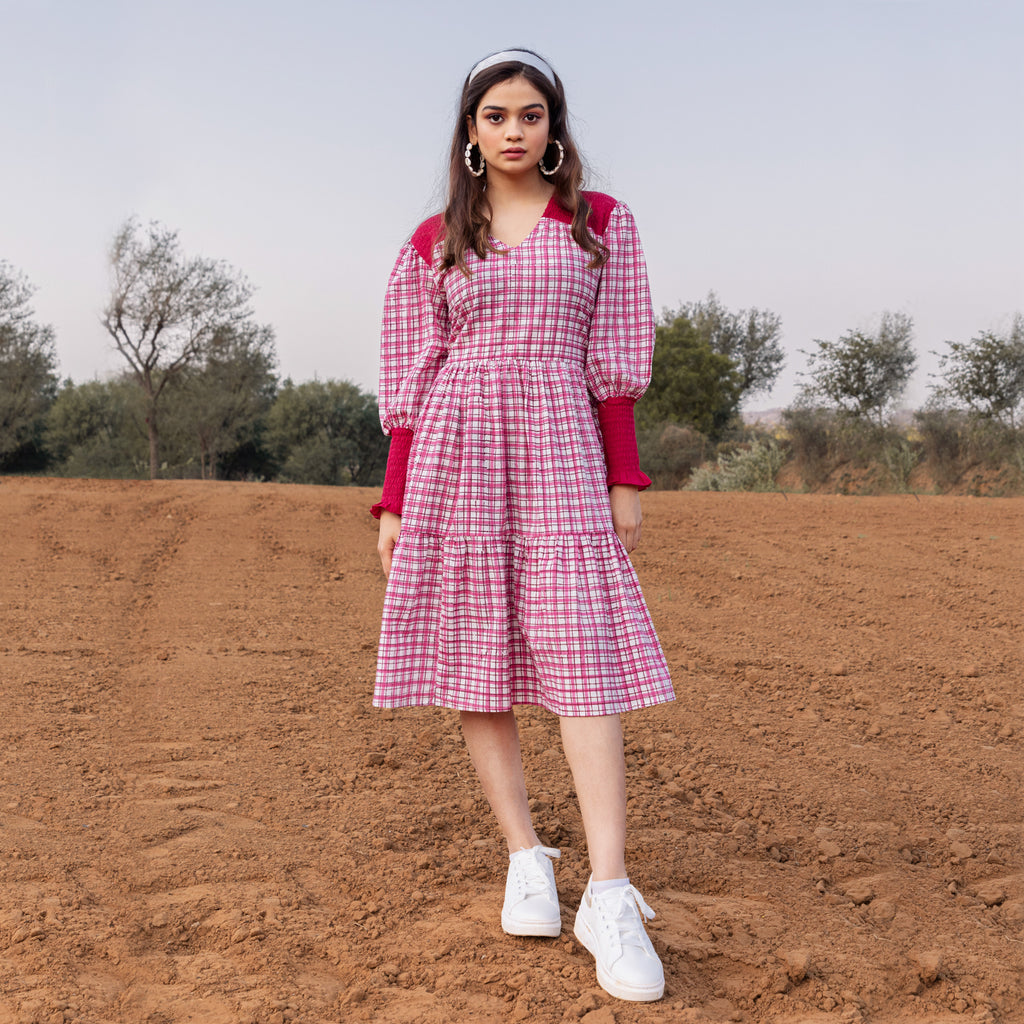 Red Checker Smocked Dress - Ambraee